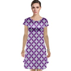 Circles3 White Marble & Purple Denim (r) Cap Sleeve Nightdress