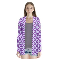 Circles3 White Marble & Purple Denim (r) Drape Collar Cardigan