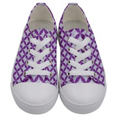 Circles3 White Marble & Purple Denim (r) Kids  Low Top Canvas Sneakers