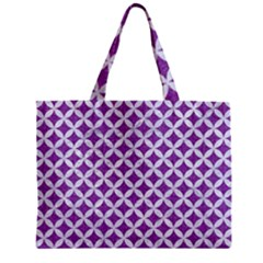 Circles3 White Marble & Purple Denim Zipper Mini Tote Bag