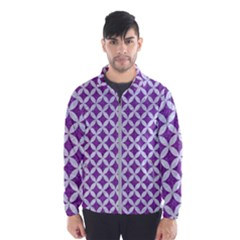 Circles3 White Marble & Purple Denim Wind Breaker (men)