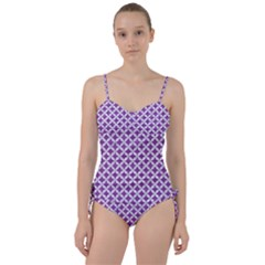 Circles3 White Marble & Purple Denim Sweetheart Tankini Set