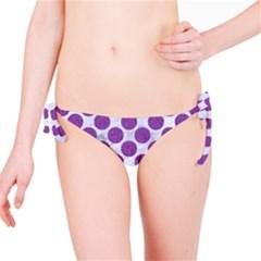 Circles2 White Marble & Purple Denim (r) Bikini Bottom