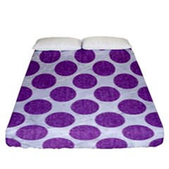Circles2 White Marble & Purple Denim (r) Fitted Sheet (queen Size) by trendistuff