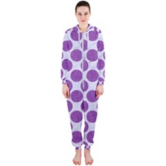 Circles2 White Marble & Purple Denim (r) Hooded Jumpsuit (ladies)