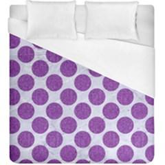 Circles2 White Marble & Purple Denim (r) Duvet Cover (king Size)