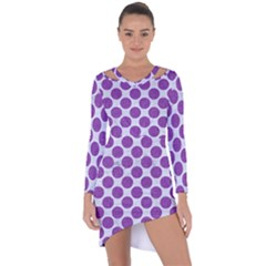 Circles2 White Marble & Purple Denim (r) Asymmetric Cut Out Shift Dress