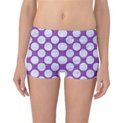 Circles2 White Marble & Purple Denim Boyleg Bikini Bottoms