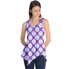Circles2 White Marble & Purple Denim Sleeveless Tunic