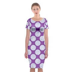 Circles2 White Marble & Purple Denim Classic Short Sleeve Midi Dress