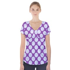 Circles2 White Marble & Purple Denim Short Sleeve Front Detail Top