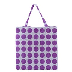 Circles1 White Marble & Purple Denim (r) Grocery Tote Bag