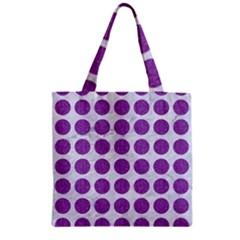 Circles1 White Marble & Purple Denim (r) Zipper Grocery Tote Bag