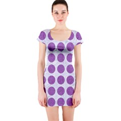 Circles1 White Marble & Purple Denim (r) Short Sleeve Bodycon Dress