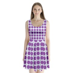 Circles1 White Marble & Purple Denim (r) Split Back Mini Dress