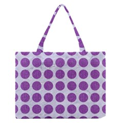 Circles1 White Marble & Purple Denim (r) Zipper Medium Tote Bag