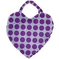 Circles1 White Marble & Purple Denim (r) Giant Heart Shaped Tote by trendistuff