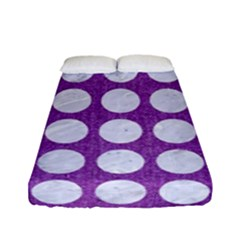 Circles1 White Marble & Purple Denim Fitted Sheet (full/ Double Size)