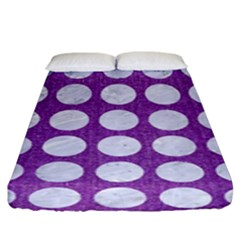 Circles1 White Marble & Purple Denim Fitted Sheet (king Size)