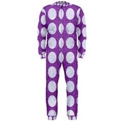 Circles1 White Marble & Purple Denim Onepiece Jumpsuit (men)