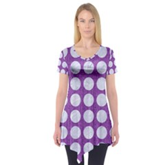 Circles1 White Marble & Purple Denim Short Sleeve Tunic