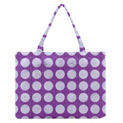 Circles1 White Marble & Purple Denim Zipper Medium Tote Bag