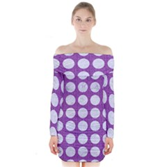 Circles1 White Marble & Purple Denim Long Sleeve Off Shoulder Dress