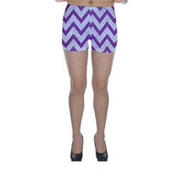 Chevron9 White Marble & Purple Denim (r) Skinny Shorts