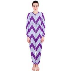 Chevron9 White Marble & Purple Denim (r) Onepiece Jumpsuit (ladies)