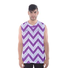 Chevron9 White Marble & Purple Denim (r) Men s Basketball Tank Top