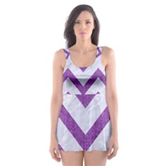 Chevron9 White Marble & Purple Denim (r) Skater Dress Swimsuit