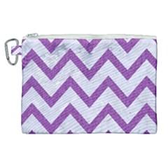 Chevron9 White Marble & Purple Denim (r) Canvas Cosmetic Bag (xl)
