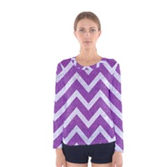 Chevron9 White Marble & Purple Denimchevron9 White Marble & Purple Denim Women s Long Sleeve Tee