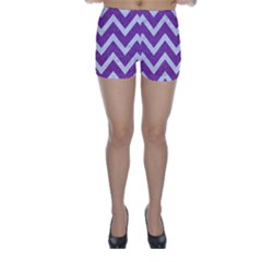 Chevron9 White Marble & Purple Denimchevron9 White Marble & Purple Denim Skinny Shorts