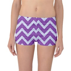 Chevron9 White Marble & Purple Denimchevron9 White Marble & Purple Denim Boyleg Bikini Bottoms