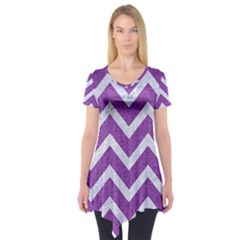 Chevron9 White Marble & Purple Denimchevron9 White Marble & Purple Denim Short Sleeve Tunic