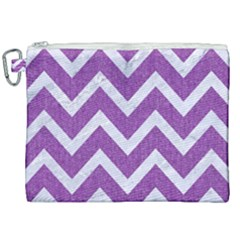Chevron9 White Marble & Purple Denimchevron9 White Marble & Purple Denim Canvas Cosmetic Bag (xxl) by trendistuff
