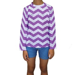 Chevron3 White Marble & Purple Denim Kids  Long Sleeve Swimwear