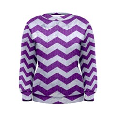 Chevron3 White Marble & Purple Denim Women s Sweatshirt