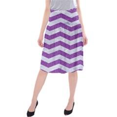 Chevron3 White Marble & Purple Denim Midi Beach Skirt