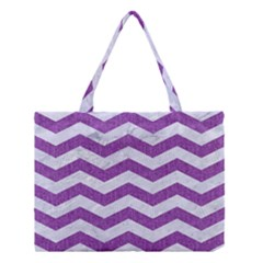 Chevron3 White Marble & Purple Denim Medium Tote Bag by trendistuff