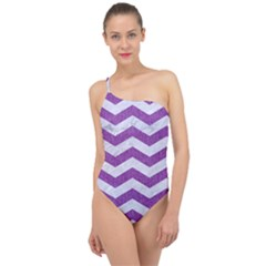 Chevron3 White Marble & Purple Denim Classic One Shoulder Swimsuit