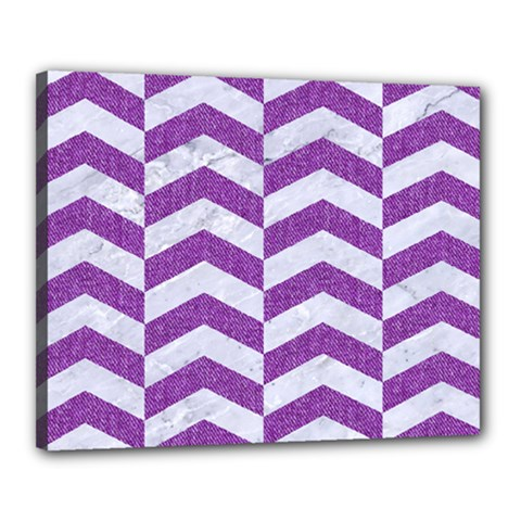 Chevron2 White Marble & Purple Denim Canvas 20  X 16