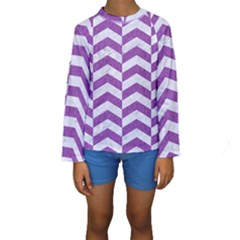 Chevron2 White Marble & Purple Denim Kids  Long Sleeve Swimwear