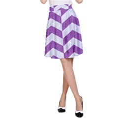 Chevron2 White Marble & Purple Denim A Line Skirt
