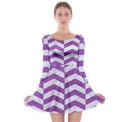 Chevron2 White Marble & Purple Denim Long Sleeve Skater Dress