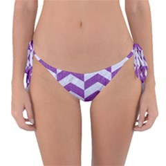 Chevron2 White Marble & Purple Denim Reversible Bikini Bottom