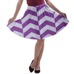 Chevron2 White Marble & Purple Denim A Line Skater Skirt