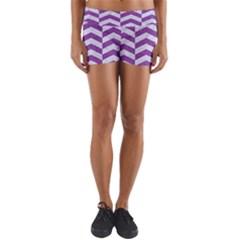 Chevron2 White Marble & Purple Denim Yoga Shorts