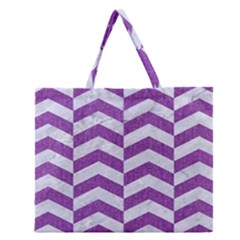 Chevron2 White Marble & Purple Denim Zipper Large Tote Bag
